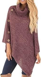 ZEFOTIM Women's Knit Turtle Neck Poncho with Button Irregular Hem Pullover Sweaters