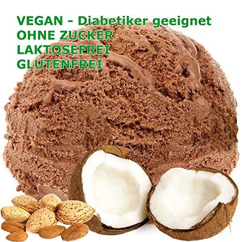 Kokos Mandel Schoko Geschmack Eispulver VEGAN - OHNE ZUCKER - LAKTOSEFREI - GLUTENFREI - FETTARM, auch für Diabetiker Milcheis Softeispulver Speiseeispulver Gino Gelati (Kokos Mandel Schoko, 1 kg)
