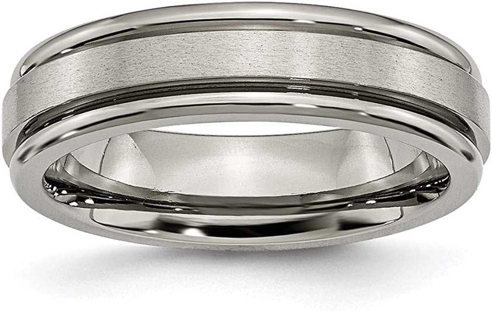 ICE CARATS Titanium 6mm Grooved Edge Wedding Ring Band Fashion Jewelry for Women Gifts for Her