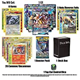 Pokemon GX Guaranteed with Booster Pack, 6 Rare Cards, 5 Holo/Reverse Holo Cards, 20 Regular Pokemon Cards, Deck Box and 1 Top Cut Central Exclusive Dice.