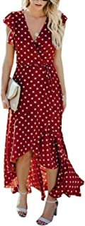 BMJL Women's Summer Vintage Wrap Dress V Neck Boho Ruffle Polka Dot Long Maxi Dress