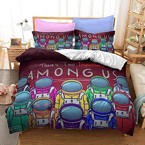 Bedclothes-Blanket Juego de sabanas Cama 90 Juveniles,Tres Conjuntos de Kits de Cama de Dibujos Animados de impresión Digital 3D-En uno_180x210cm