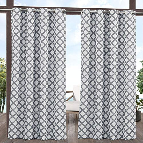 Exclusive Home Curtains Bamboo Trellis Indoor/Outdoor Light Filtering Grommet Top Curtain Panel Pair, 54x96, Grey/White
