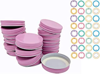YEEPON 24 Pack Mason Jar Lids, 70mm Regular Mouth, Continuous Thread, Set of 24+32 can labels (pink)