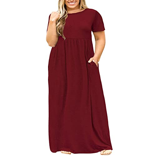 df5e48ed8a Nemidor Women Short Sleeve Loose Plain Casual Plus Size Long Maxi Dress  with Pockets