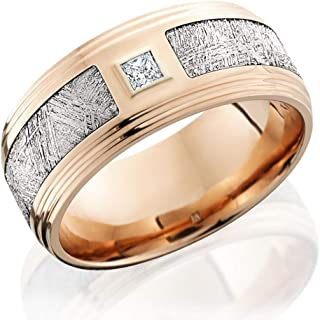 Kobelli 14k Rose Gold with Meteorite Inlay and 1/10ct Diamond 9mm Extra Wide Flat Band