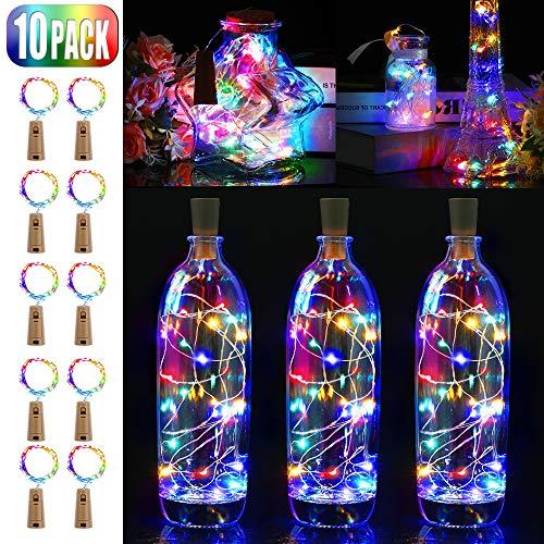 BIG HOUSE 10 Stück LED Flaschenlicht, 20 LEDs 2M Lichterkette mit Kork Schnurlicht für DIY Deko Weihnachten Party Urlaub Stimmungslichter (Mehrfarbig)