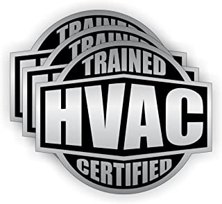 (3) HVAC Trained & Certified Hard Hat Stickers | Helmet Decals | Labels Emblems Badges Toolbox Heating Cooling A/C Air Conditioning