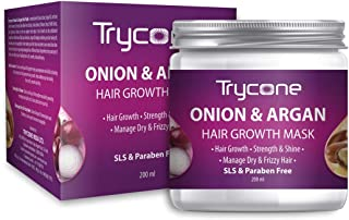 Trycone Onion & Argan Hair Growth Mask for Dry, Frizzy and Damaged Hair, 200 Ml