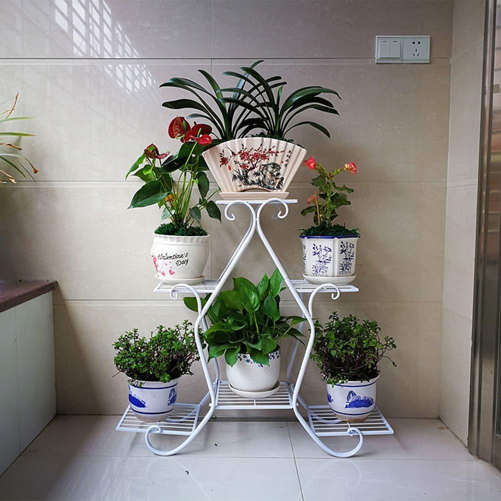 ZWJ Iron Art Multi-Layer Balcón Maceta para macetas, para el Interior Jardín Exterior Decoración para macetas Estante de exhibición en Estante, Tiene 6 macetas,White: Amazon.es: Hogar