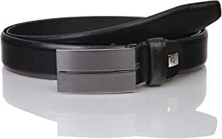 LINDENMANN Mens leather belt/Mens belt, business belt, leather belt curved with plate buckles, black