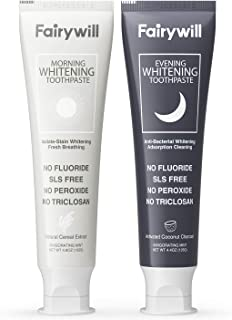 Charcoal Toothpaste Whitening Set, Fairywill Activated Charcoal Toothpaste Removes Stains for Extra Teeth Whitening, Fluor...