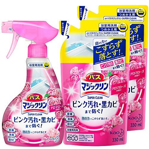 【まとめ買い】バスマジックリン 泡立ちスプレー SUPERCLEAN アロマローズの香り 本体×1個+替×2個