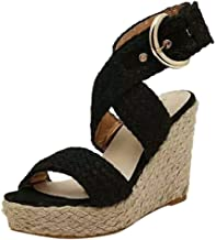 Women Ladies Fashion Casual Big Size Buckle Wedges Sandals Roman Shoes - HHmei Wedge buckle casual Roman cool