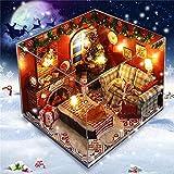 Ungfu Mall Muebles de casa de muñecas de Madera Kits de luz LED Sala de Navidad DIY Dollhouse Puzzle Toy