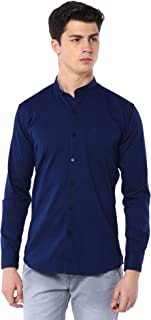 Men Lycra Chinese Collar Casual Solid Shirt