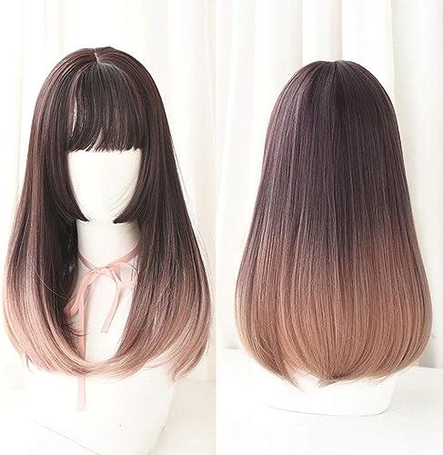 Japanische Lolita lange gerade Spitze-Front-Perücken mit Air Bangs 2 Tone Farbe MischhitzeBeste ige synthetische Faser-Haar für Cosplay 20inches