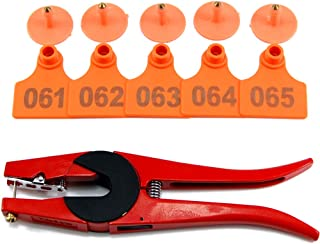 100 Sets Numbered Plastic Livestock Ear Tags for Cattle Pigs Calf Hogs Goat Animal Identification TPU Earring Tagger with 1 pcs Pliers Applicator, Orange