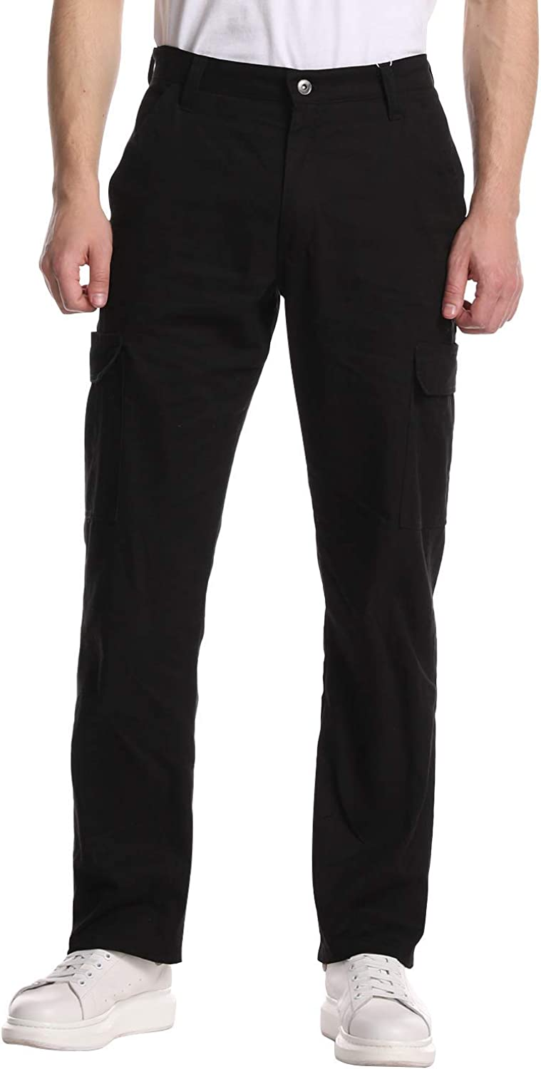 JOMLUN Men's Casual Outdoor Climb Trousers Relaxed Fit Pure Cotton Cargo Pants
