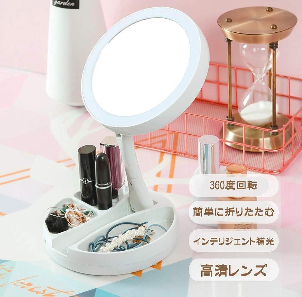 谷スペード手入れ化粧鏡 化粧ミラー 化粧鏡 女優ミラー 卓上鏡 USB充電式や電池化粧ミラー 折りたたみ式 多機能LED10倍 両面化粧ミラー 卓上鏡