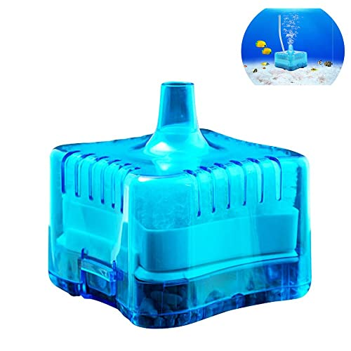 Yakamoz Mini Filtre à Charbon Biochimique Activé pour Aquarium Réservoir de Poissons Biochimique Pneumatique Filtre Efficace Filtration de Aquarium Fish Tank Filter Moin de 40cm Hauteur Bleu