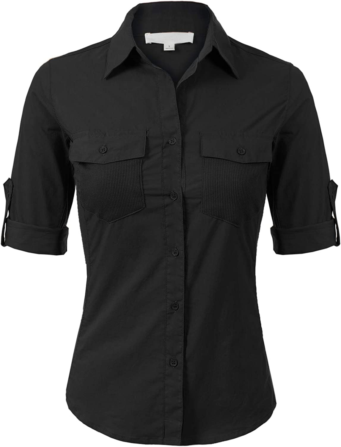 Design by Olivia Women's Solid Cotton Voile Ribbed Pocket and Side Button-Down Shirt