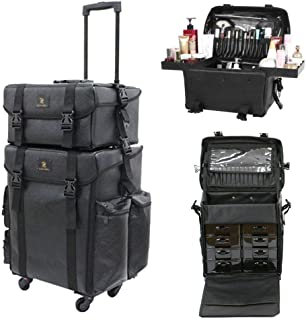 LUVODI 2-in-1 Rolling Makeup Train Case On Wheels, Professional Trolly Cosmetic Artist Bags Storage Organizer, Black Leather