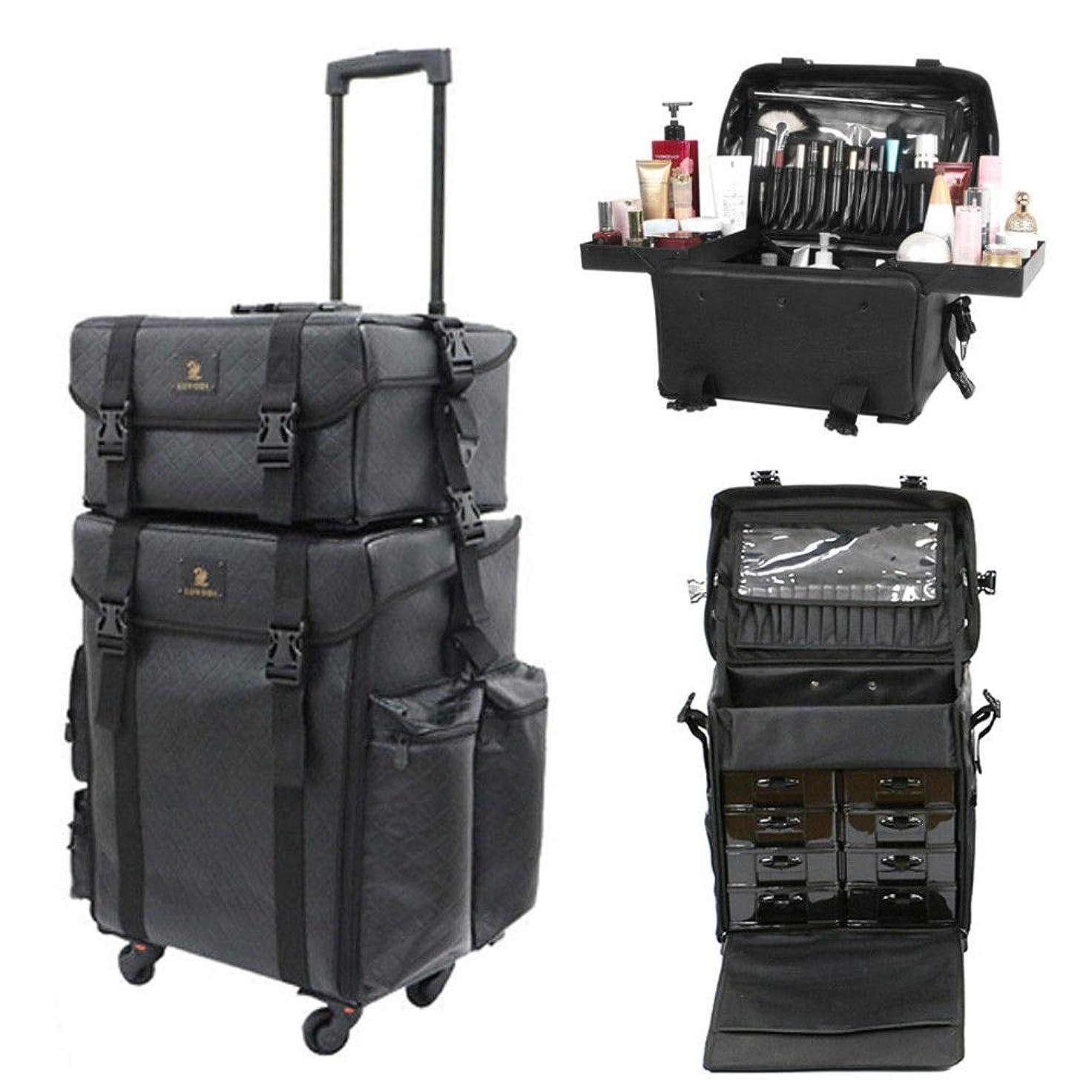 のヒープ被るビルマLUVODI メイクボックス 大容量 プロ コスメボックス 旅行 引き出し 化粧品収納 メイクキャリーケース 化粧箱 持ち運び 防水 レザー 黒