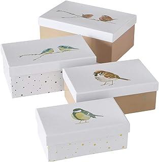 CasaJame Ensemble x 4 Boîtes de Rangement avec Couvercle Conteneurs Rectangulaires Décoratifs Multicolores en Carton Diffé...