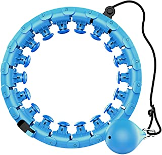 SIGOODS Hoola Hoop for Adults Weighted for Exercise Adjustable Sections Professional Hoola Hoop for Beauty and Massage, 24...