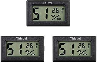 Thlevel Mini Termómetro Higrómetro Digital Interior de Temperatura y Humedad, Negro (3 PCS - A)