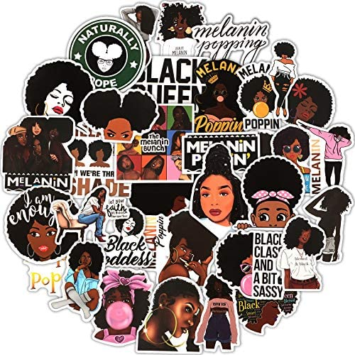 100 Pieces Melanin Poppin Stickers Black Girl Pop Singer Computer Decal for Laptop Water Bottles product image