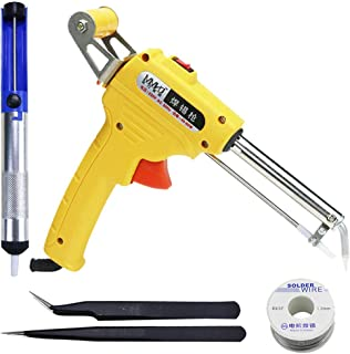 Semiautomatic Soldering Iron Gun Kit - 110V 60W Automatic Send Tin Heat Gun-Type Soldering Station Welding Tool Fast Heating,with Desoldering Pump,Tweezers,Tin wire (Yellow)