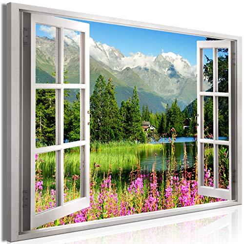 murando - Bilder Fensterblick 120x80 cm Vlies Leinwandbild 1 TLG Kunstdruck modern Wandbilder XXL Wanddekoration Design Wand Bild - Gebirge Berge Natur Landschaft c-C-0297-b-a