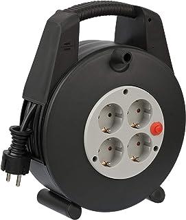 Brennenstuhl Vario Line Kabeldoos, 4-voudig, mini-kabelhaspel, indoor kabelhaspel voor het huishouden, 15 m kabel, Made in...