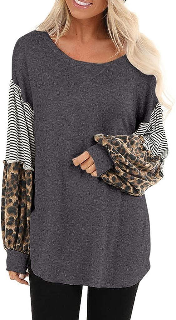 LATINDAY Women Leopard Print Max 64% OFF Long Striped Puff Splicing Sleeve [Alternative dealer] T