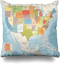 L.R.D 18X18inch Funda de Almohada Superficie United Retro Color Mapa político Estados Unidos Geografía Agua América Norte de México Ríos Almohada Americana Cojín