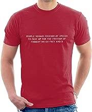 Coto7 People Demand Freedom of Speech Soren Kierkegaard Quote Men's T-Shirt