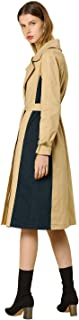 Women's Single Breasted Overcoat with Belt Colorblock Long Trench Coat