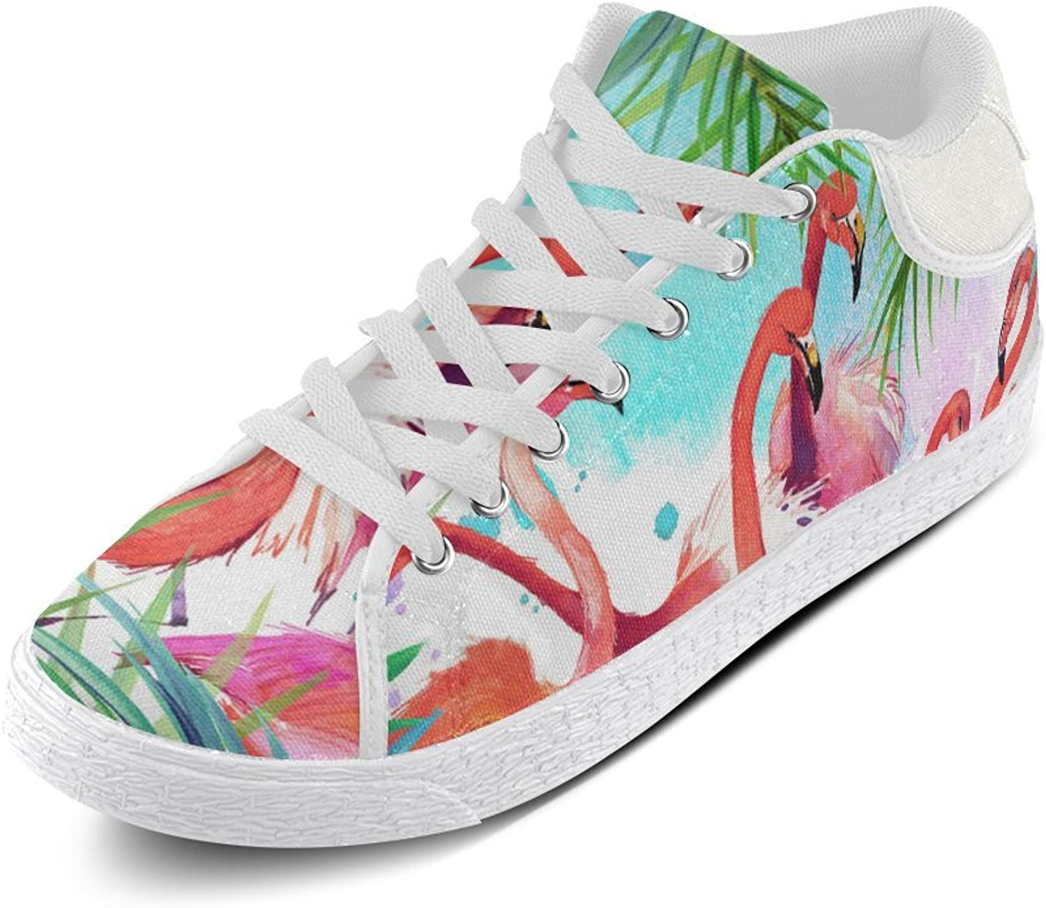CERLYRUAN Pink Flamingos and Palm Leaves Canvas Chukka Canvas Women's shoes