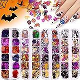 EBANKU 48 Farben Halloween Nagel Pailletten, Glitzer Nägel Glitzer Sequin Chunky Glitter Nagel...