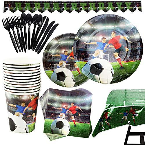 Kompanion 177-teiliges Fußball Party Set mit Banner, Tellern, Tassen, Servietten, Tischtüchern, Löffel, Gabeln und Messern für 25 Personen