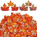 UNIQUE FALL MAPLE LEAF: Made from high-density silk wet embossed technology make the veins more clearly and vivid. Look in great quality and be high-end and elegant than other normal embossed leaves, some of leaves are glittering but no glitters will...