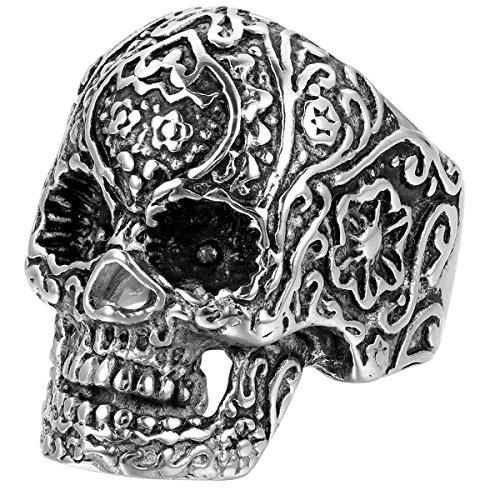 JewelryWe Schmuck Biker Herren-Ring, Edelstahl, Retro Gotik Totenkopf Schädel Blume, Schwarz Silber...