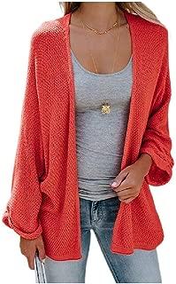RkYAO Womens Open Front Solid Outwear Dolman Sleeve Jersey Cardigan