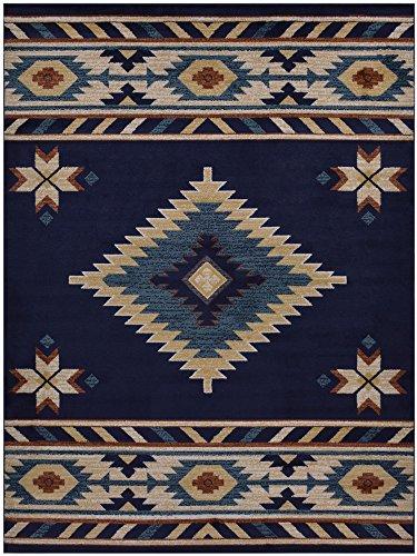 Nevita Collection Southwestern Native American Design Area Rug Southwest Design Rugs Geometric South West Pattern (Navy Blue, 8 x 10)