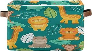 F17 Panier de rangement pliable en toile avec poignée Motif lion, hippopotame, singe, girafe