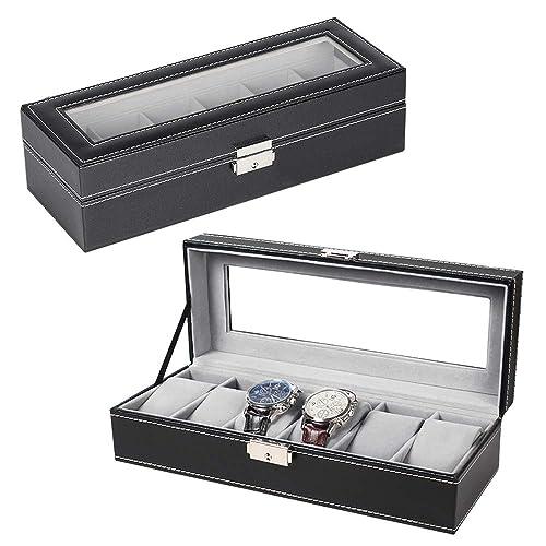 cf360db2d3ac NEX 6 Slot Leather Watch Box Display Case Organizer Glass Jewelry Storage  Black