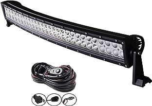 AUXTINGS 32 pulgadas 180W Barra de luz LED de doble fila curvada de con kit de cableado para camiones tractores 4x4 barcos todoterreno luz antiniebla para conducción,12V 24V
