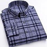 Camisas Hombres,Camisa A Cuadros De Algodón Camisa A Cuadros Clásica Gris A Rayas Camisas Casuales para Hombre con Botones De Bolsillo Padre Novio, XL